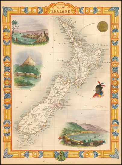 40-New Zealand Map By John Tallis