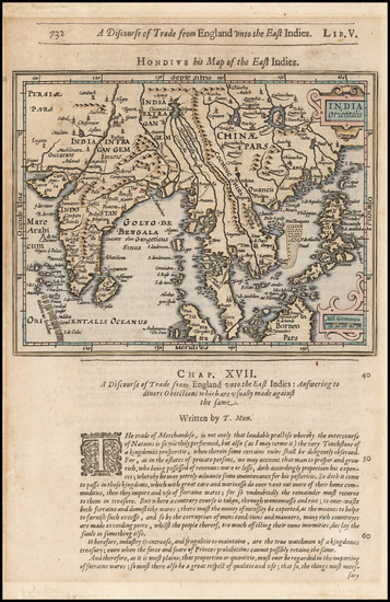 59-Southeast Asia and Indonesia Map By Jodocus Hondius / Samuel Purchas
