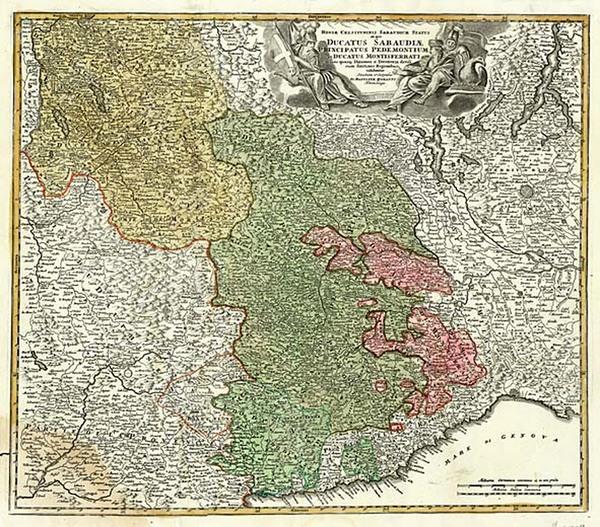20-Europe, Switzerland, France and Italy Map By Johann Baptist Homann