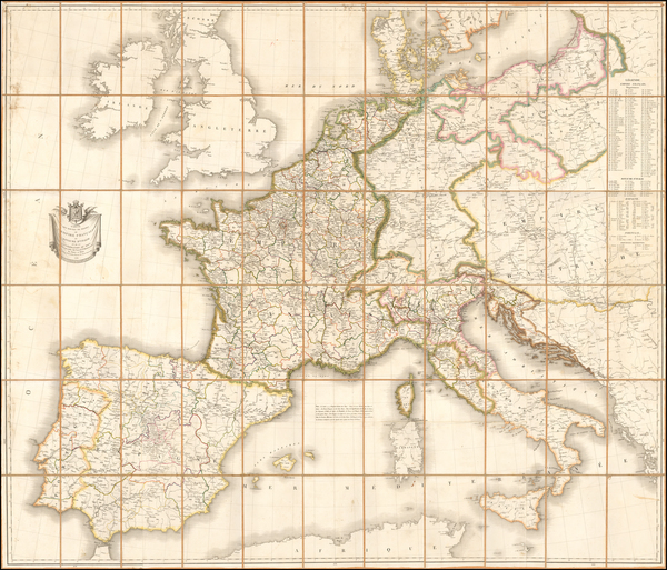 3-Europe, Europe, France, Italy, Spain and Portugal Map By Pierre  Alexandre Tardieu
