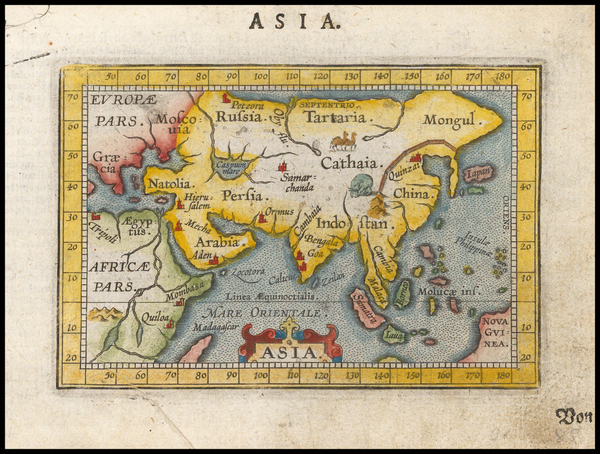 58-Asia and Asia Map By Abraham Ortelius / Johannes Baptista Vrients