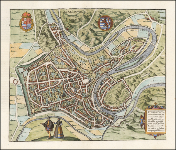 47-Luxembourg Map By Georg Braun  &  Frans Hogenberg