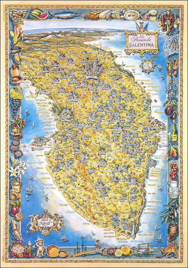 54-Southern Italy and Pictorial Maps Map By John Duggan