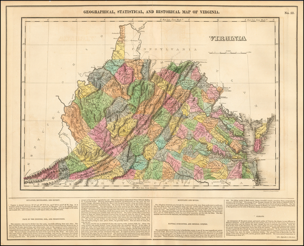 62-Virginia Map By Henry Charles Carey  &  Isaac Lea