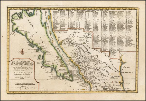 45-Baja California, California and California as an Island Map By Nicolas de Fer