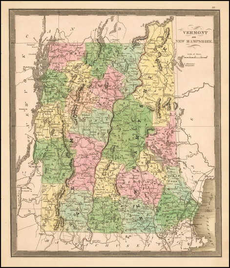 New Hampshire and Vermont Map By Jeremiah Greenleaf