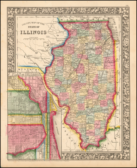 91-Midwest and Illinois Map By Samuel Augustus Mitchell Jr.