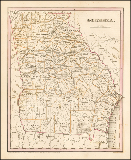 34-Southeast and Georgia Map By Thomas Gamaliel Bradford