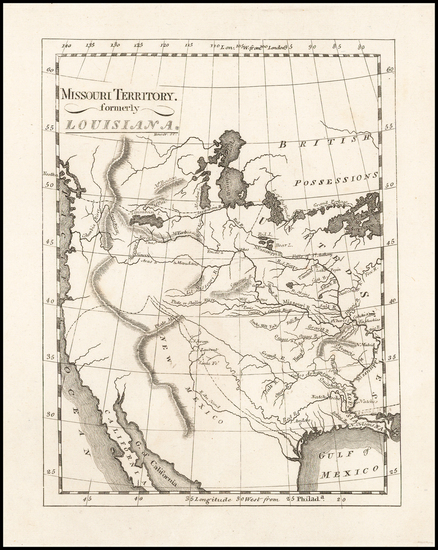 82-Texas, Plains, Southwest, Rocky Mountains and California Map By Mathew Carey
