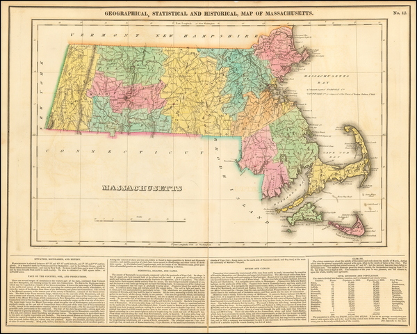100-New England and Massachusetts Map By Henry Charles Carey  &  Isaac Lea