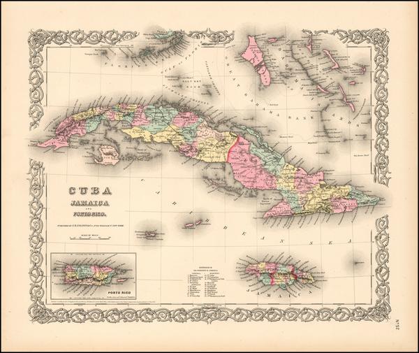 60-Cuba Map By Joseph Hutchins Colton