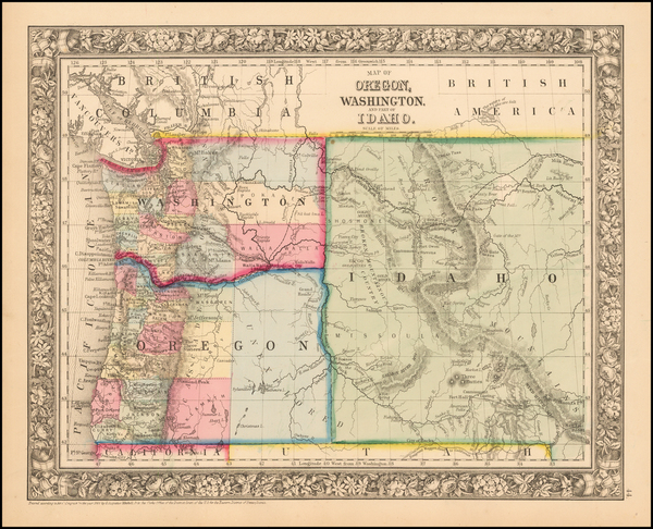 32-Idaho, Montana, Wyoming, Oregon and Washington Map By Samuel Augustus Mitchell Jr.