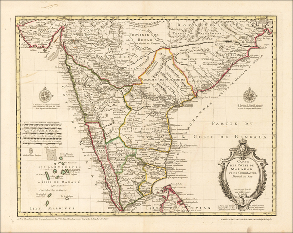 India Map By Guillaume De L'Isle / Philippe Buache / Jean-Claude Dezauche