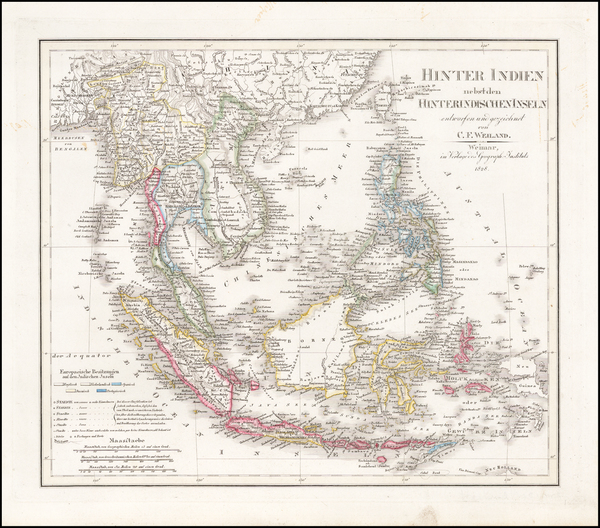 37-China, Southeast Asia, Philippines and Other Islands Map By Carl Ferdinand Weiland
