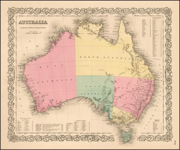 39-Australia Map By Joseph Hutchins Colton
