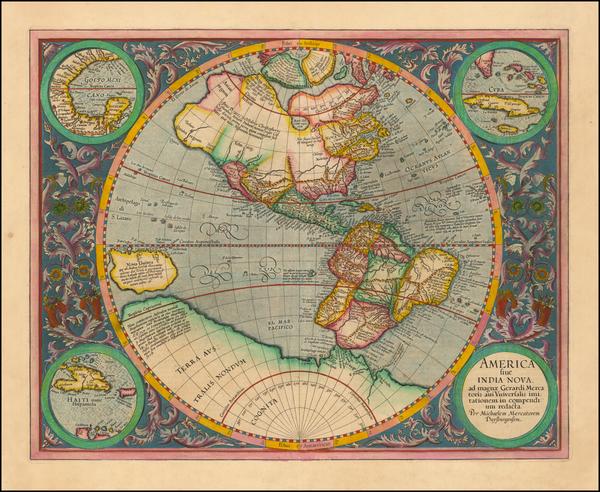 73-Western Hemisphere and America Map By Michael Mercator