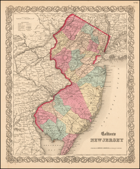 71-Mid-Atlantic and New Jersey Map By Joseph Hutchins Colton