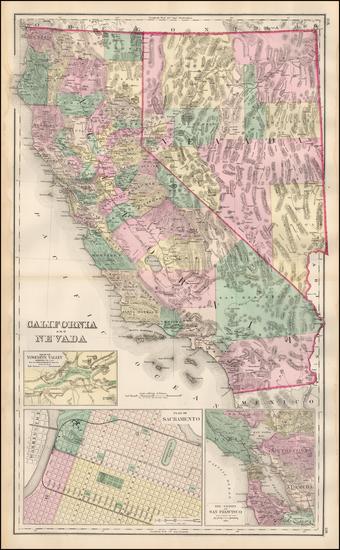 37-Nevada, California and Yosemite Map By O.W. Gray & Son