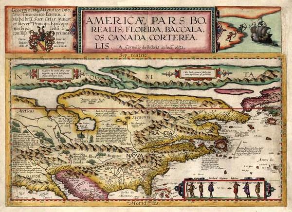 63-World, Polar Maps, United States and North America Map By Cornelis de Jode