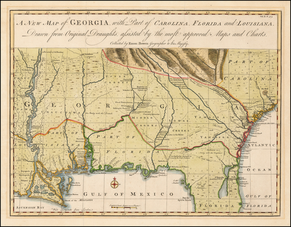 9-South, Louisiana, Mississippi, Southeast and Georgia Map By Emanuel Bowen