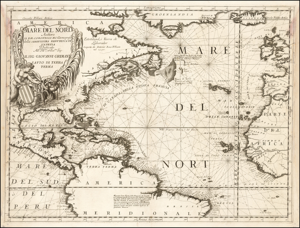 25-Atlantic Ocean, North America, South America and America Map By Vincenzo Maria Coronelli