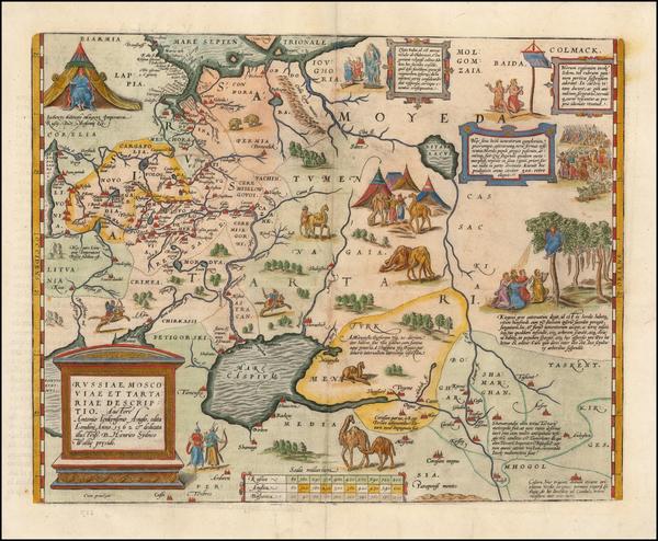 97-Russia, Ukraine, India, Central Asia & Caucasus and Russia in Asia Map By Abraham Ortelius