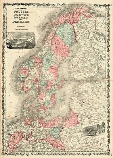 35-Europe, Germany and Scandinavia Map By Benjamin P Ward  &  Alvin Jewett Johnson