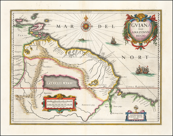 47-Guianas & Suriname and Venezuela Map By Willem Janszoon Blaeu