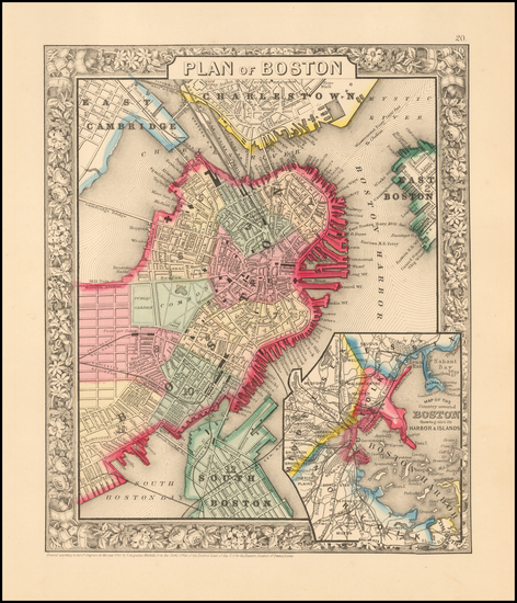 92-Massachusetts and Boston Map By Samuel Augustus Mitchell Jr.