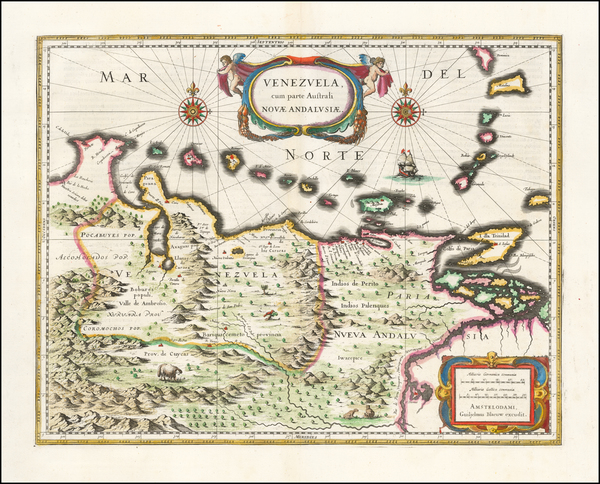 18-Venezuela Map By Willem Janszoon Blaeu