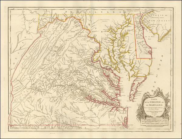 42-Mid-Atlantic, Maryland, Delaware, West Virginia, Southeast and Virginia Map By Gilles Robert de