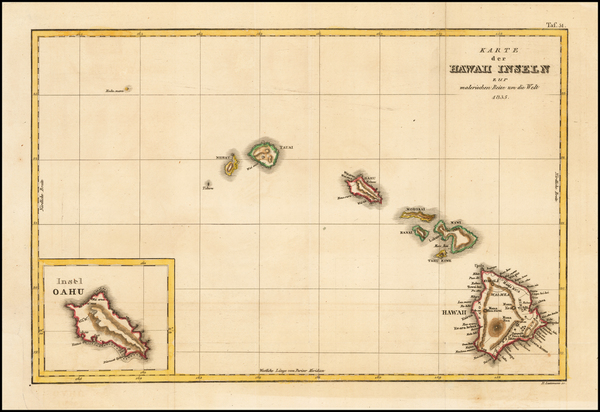 19-Hawaii and Hawaii Map By Jules Sebastian Cesar Dumont-D'Urville