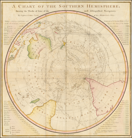 66-Southern Hemisphere, Polar Maps, Australia and New Zealand Map By James Cook