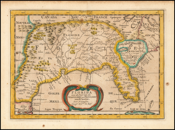 62-Florida, South and Southeast Map By Nicolas Sanson