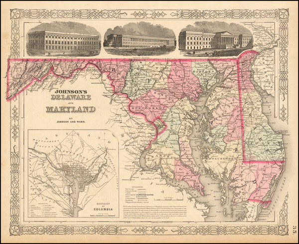 84-Washington, D.C., Maryland and Delaware Map By Benjamin P Ward  &  Alvin Jewett Johnson
