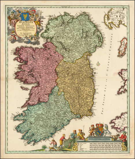 21-Ireland Map By Johann Baptist Homann