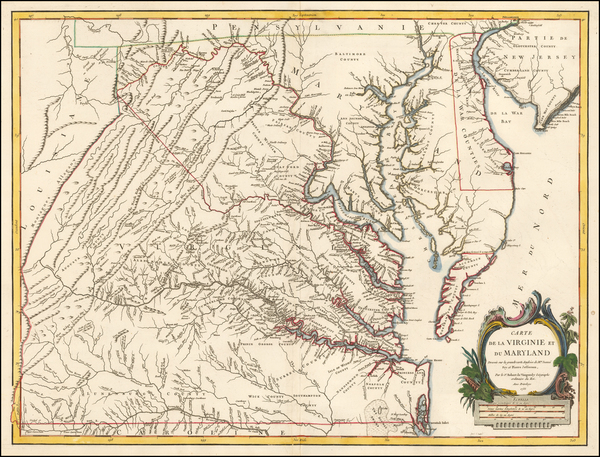 64-Mid-Atlantic, Maryland and Virginia Map By Gilles Robert de Vaugondy