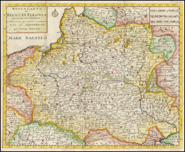 23-Poland and Ukraine Map By Giambattista Albrizzi