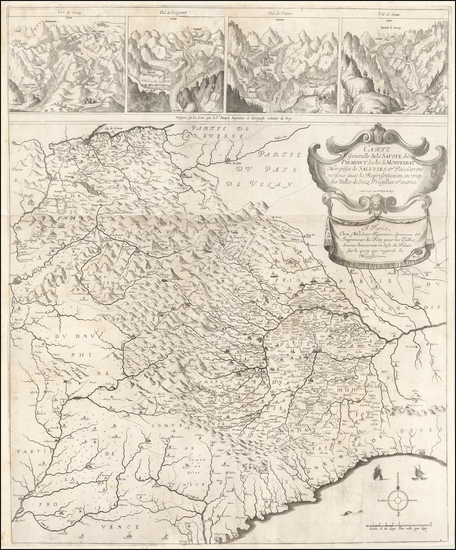 5-Switzerland, France and Italy Map By Melchior Tavernier