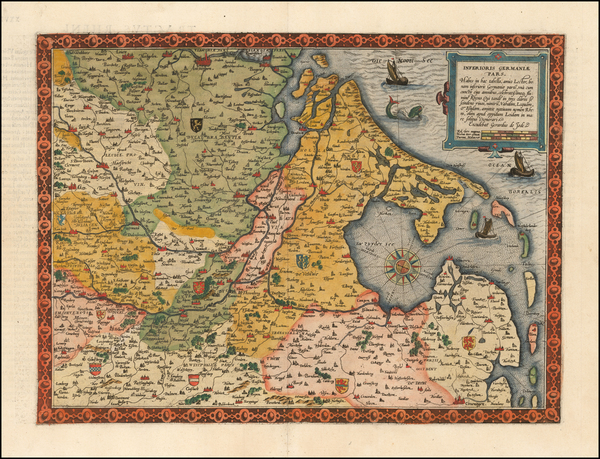 100-Netherlands, Luxembourg and Germany Map By Cornelis de Jode