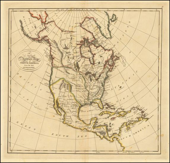 71-North America Map By Mathew Carey