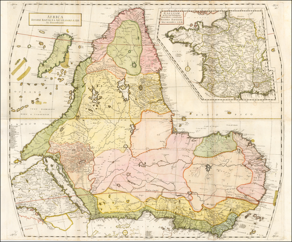 Africa and Africa Map By Giovanni Battista Nicolosi