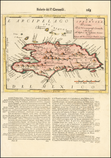 86-Caribbean and Hispaniola Map By Vincenzo Maria Coronelli