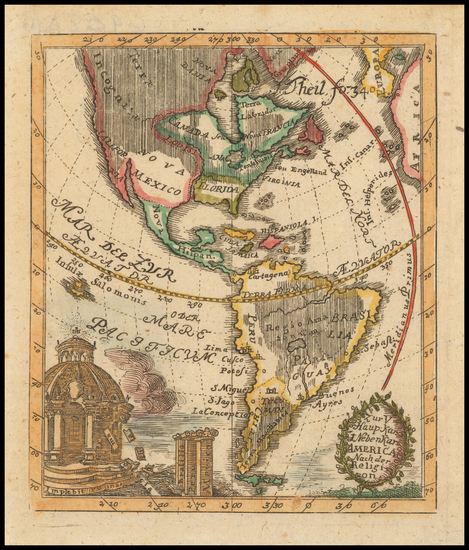 45-South America and America Map By P. Anselm Desing