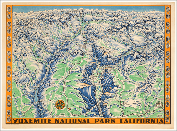 59-California and Yosemite Map By Schwabacher-Frey Co.