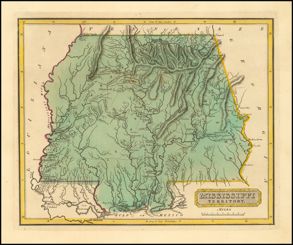 90-South, Alabama and Mississippi Map By Fielding Lucas Jr.