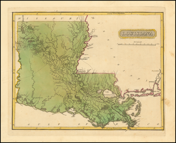 66-South and Louisiana Map By Fielding Lucas Jr.