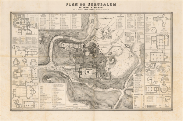 15-Holy Land and Jerusalem Map By Ermete Pierotti