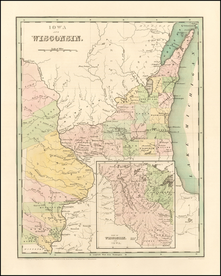 77-Midwest, Wisconsin, Plains and Iowa Map By Thomas Gamaliel Bradford