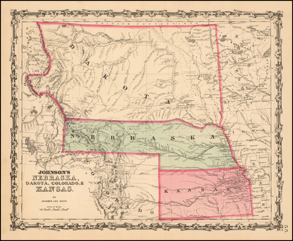 92-Plains and Rocky Mountains Map By Benjamin P Ward  &  Alvin Jewett Johnson